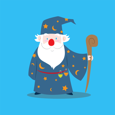 A cute vector cartoon illustration of an old wizard holding magic staff