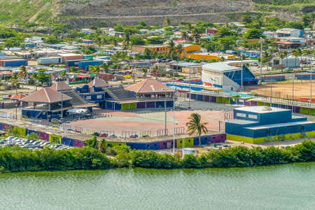 Close up view of carnival village on pond island st.maarten