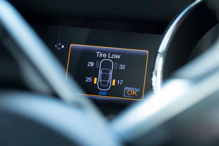 Vehicle tire indicator, indicates tires has low pressure.