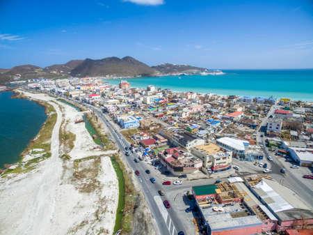 Aerial view of Philipsburg St.Maarten after hurricane Irma