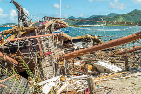 Close up view of entertainment ship completely toppled by hurricane Irma on St.maarten.
