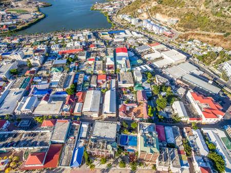 High Aerial view of the capital of St.Maarten, Philipsburg. Dutch Side of Sint Maarten. 免版税图像