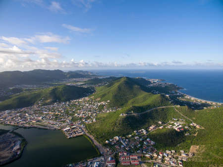 High Aerial view of island of dutch st.maarten