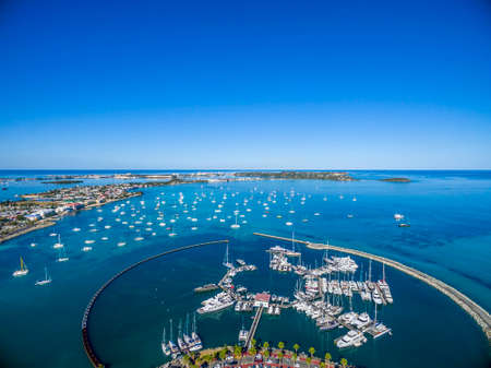 Aerial view of Marigot port, on Saint maartin