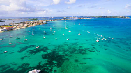 Aerial view of caribbean sea on the french island of st martin