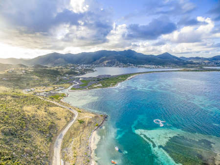 Aerial view of the Caribbean island of st.maarten.