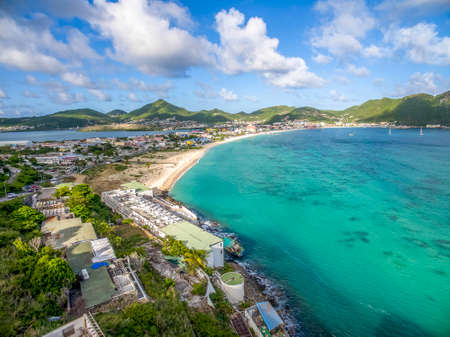 High aerial view of the caribbean island of st.maarten