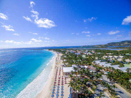 Aerial view of orient bay beach on french st martin 免版税图像