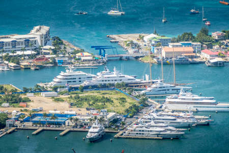 High point view of simpson bay city on sint maarten