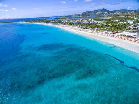Aerial view of orient bay beach on french st martin Archivio Fotografico