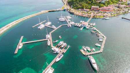 High Aerial view of marigot port on french saint martin.