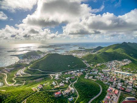 High Beautiful Aerial view of the island of Sint Maarten. 免版税图像