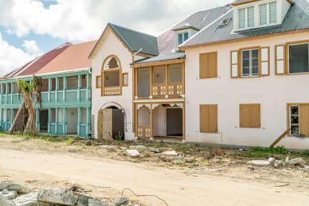 St.Martin Orient bay, December 2017 Hurricane Irma aftermath destruction to some of st.maarten/stmartin beaches and homes