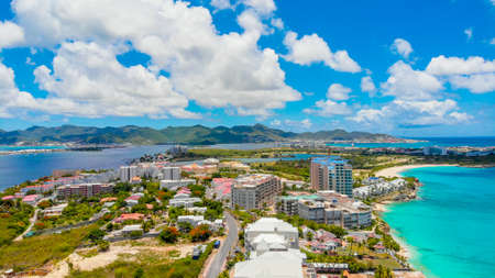 Aerial view of Maho and Simpson bay in the Caribbean island of St.Maarten