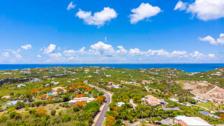Aerial view of Les Terres Basses/Low lands, in the Caribbean island of St.Martin