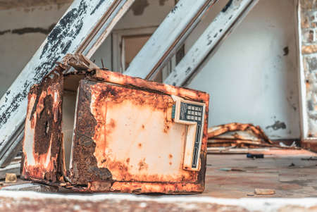 Rusty safe due to hurricane and natural damages