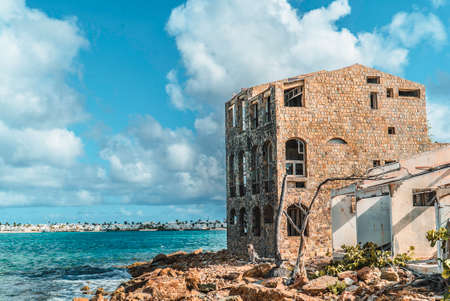 Hurricane causes damages to La belle creole building in the caribbean island of st.martin. Stock Photo