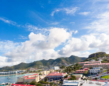 The caribbean island of St.Maarten landscape and cityscape.