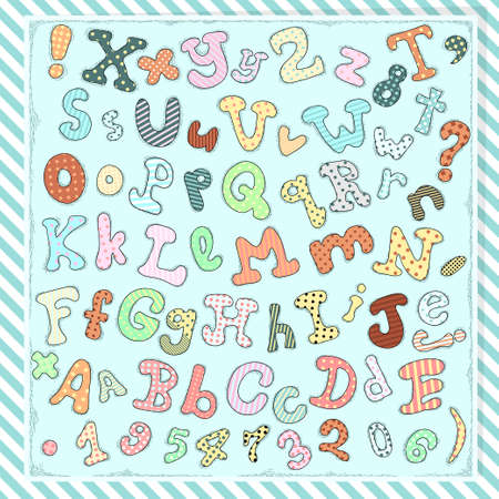 orthographic symbol: Hand drawn cute letters, numbers and symbols Illustration