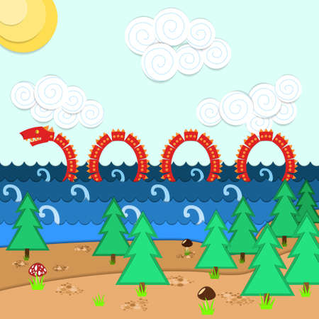 ness: Illustration of Loch Ness Monster in water