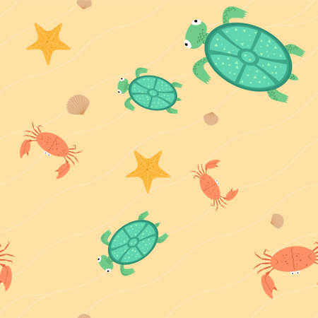 Seamless of beach with turtles, crabs, stars and seashells Vector