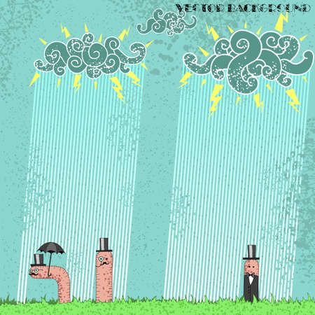 nobleman: Grunge background with worms aristocrats under the rain