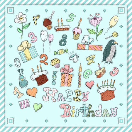 Birthday postcard with gifts, cakes, sweets, numbers, flowers,candles and balloons Vector