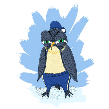 impudent: Angry penguin in pants, peaked cap and necklace