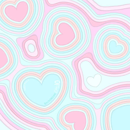 multilayered: abstract background with hearts, colorful paper and multi-layered effect