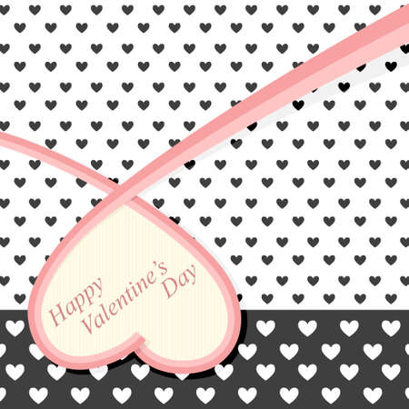 ribbon heart: Vintage postcard with ornate of black hearts and big heart with red ribbon on it Illustration