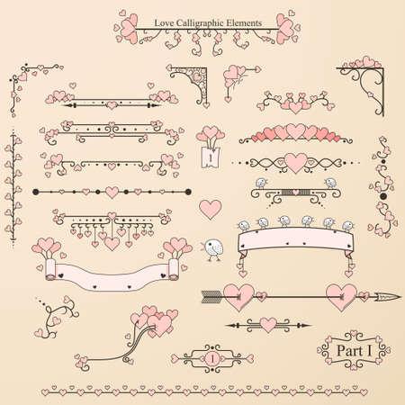 Conjunto de elementos caligráficos de época con corazones, pájaros y adornos