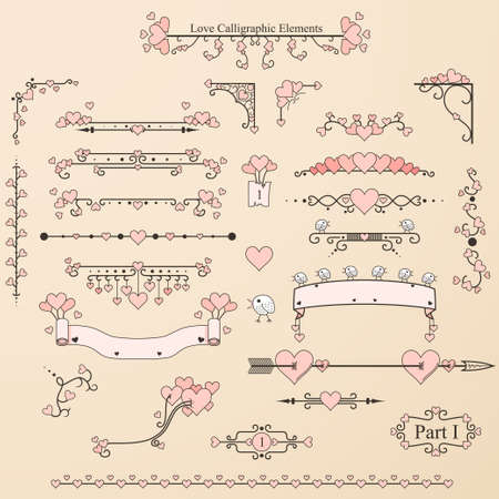 Set of vintage calligraphic elements with hearts,birds and ornaments