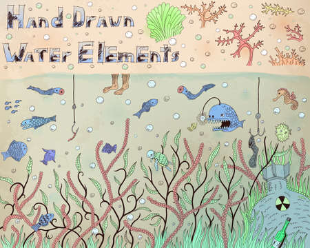Hand drawn illustration of different water elements and animals Illustration