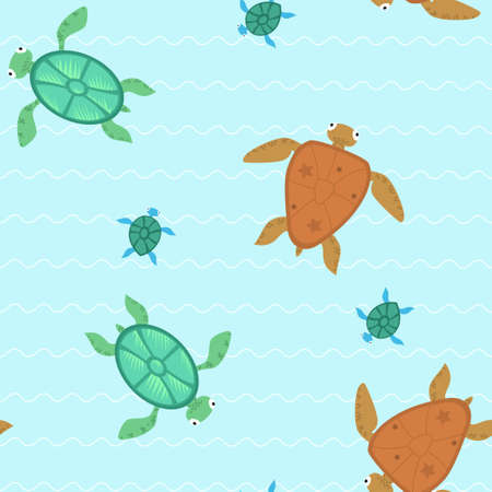 Seamless with different turtles Vector