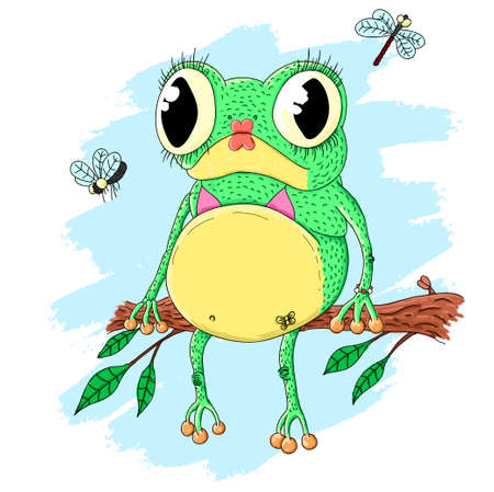 Pretty frog sitting on the branch with leaves Vector