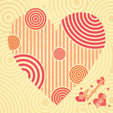 concentric: Vintage postcard with heart ornate of stripes, hearts and concentric shapes Illustration