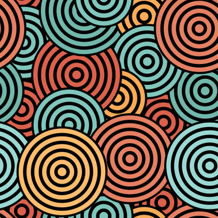 Seamless with blue, orange and red concentric circles on the black background Vector