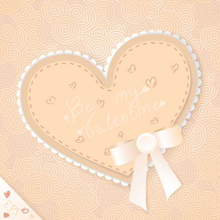 Cute beige vintage postcard with bow, lace and heart on the background with concentric circles Vector
