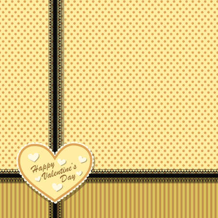 Cute vintage postcard with heart and black lace ribbons on background with stripes and circles Vector
