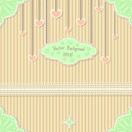 Cute vintage postcard with stripes ,lace and hearts for Valentines day Vector