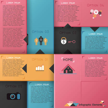 house diagram: Modern infographics options banner with colorful blocks. Vector. Can be used for web design and  workflow layout Illustration