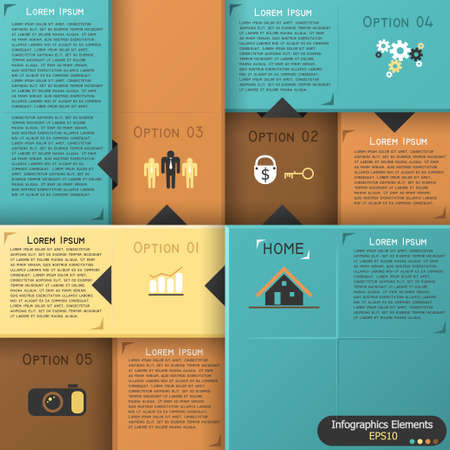 Modern inforgraphics options banner with colorful blocks. Vector. Can be used for web design and  workflow layout