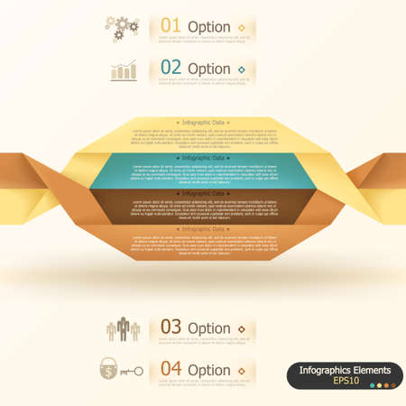 Modern inforgraphics options banner with woven paper sheets. Vector. Can be used for web design and  workflow layout Vector