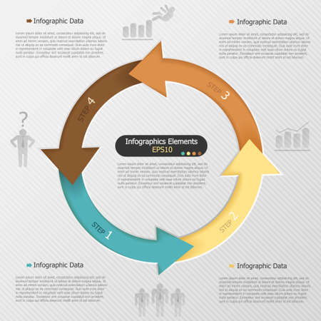 Modern infographics options banner with closed arrows. Vector. Can be used for web design and  workflow layout