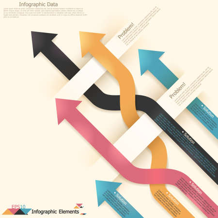 Modern infographics options banner with woven paper arrows. Vector. Can be used for web design and  workflow layout
