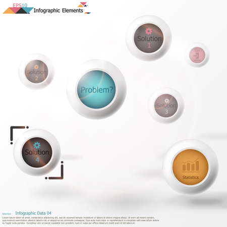 Modern infographics options banner with realistic circles on light background. Vector. Can be used for web design and  workflow layout