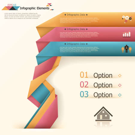 Modern infographics options banner with woven paper sheets. Vector. Can be used for web design and  workflow layout Vector