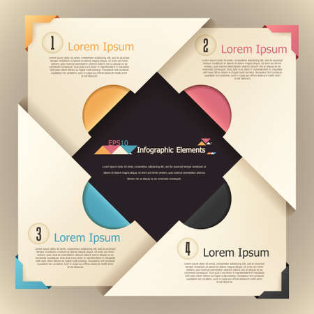 Modern infographics options banner with colorful paper blocks. Vector. Can be used for web design and  workflow layout
