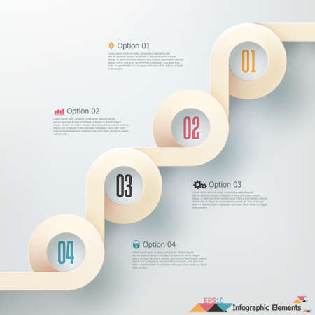Modern infographics options banner with realistic ribbon. Vector. Can be used for web design and  workflow layout