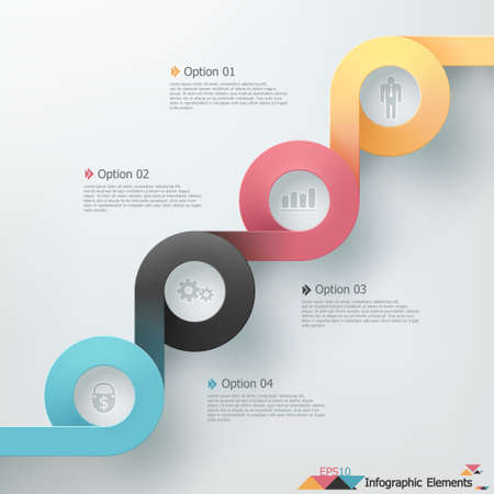 Modern infographics options banner with realistic colorful ribbon. Vector. Can be used for web design and  workflow layout Ilustracja